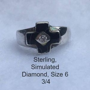 Sterling Cross Ring Simulated Diamond Size 6 3/4